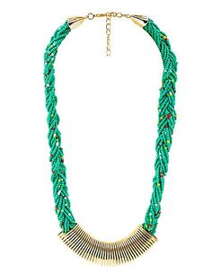 Gold Coil & Braided Seed Bead Necklace: Charlotte Russe