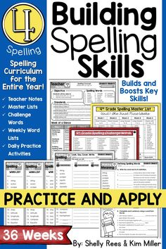 4th grade Spelling and Vocabulary Program: NO PREP spelling lessons and printables for the entire YEAR.  Everything you need for a complete spelling curriculum is included: weekly lesson plans, spelling lists, sample sentences, worksheets, word work, tests, and more! Just PRINT and GO!