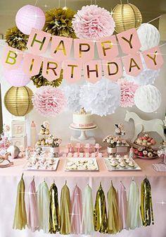 Rose Gold Birthday Decorations - Pink Birthday Banners, Pink Girls Birthday Party Kit Decorations, Rose Gold Roses and Lanterns Sets, Pink Tassel, 13th Birthday Parties, Birthday Party For Teens, 16th Birthday Ideas For Girls, 15th Birthday, 18th Birthday Decor, Farm Birthday, Birthday Gifts, 21st Birthday Themes, Teenage Girl Birthday