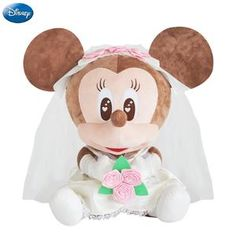 023be57a7911 Genuine Disney Wedding Dress Mickey Mouse Minnie Kawaii Plush Cotton Stuffed  Animal Toy Pet Toys