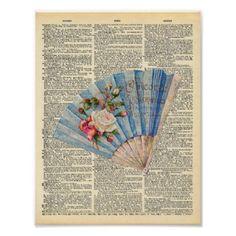 Vintage Dictionary Art Feminine Folding Fan Poster - shabby chic unique special diy