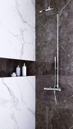 Bath Room Marble White Black 70 Ideas - pinupi love to share Marbel Bathroom, Black Marble Bathroom, Marble Room, Silver Bathroom, Bathroom Wall, Bad Inspiration, Bathroom Inspiration, Garden Inspiration, Modern Bathroom Design