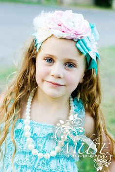 Mint and pink Headband by ElysCoutureHeadbands on Etsy, $28.00