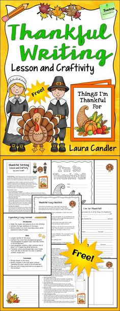 Thankful Writing is a newly-revised freebie from Laura Candler that's a step-by-step writing lesson and a craftivity all in one.The final project is sent home with students to be shared with their families on Thanksgiving day, and it's sure to be a memorable keepsake!