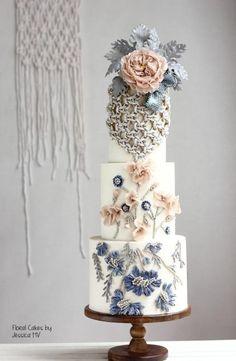 BEAN PASTE wedding cake by Jessica MV - http://cakesdecor.com/cakes/278879-bean-paste-wedding-cake