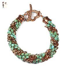 Handmade Kumihimo Magatama Bracelet in Blue and Copper Beads for Medium Wrist - Wedding bracelets (*Amazon Partner-Link)