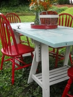 Old Doors - Unique Outdoor Table.  A lot of furniture remakes on this site.