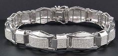 Diamond Fashion Bracelet Mens 10K White Gold 8.50 Inches Pave Round Cut 3.25 Ct