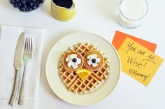 Owl Waffle Pancake - This waffle is easy to make and makes kids feel special as they prepare for school!