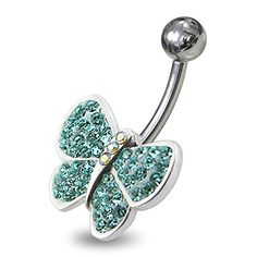 Piercing-Schmuck Leichte blaue Kristallsteins Multi Stein Phantasie Schmetterling 925 Sterling Silber Nabelring - http://schmuckhaus.online/chennai-jewellery/hellblau-piercing-schmuck-edelstein-multi-stein