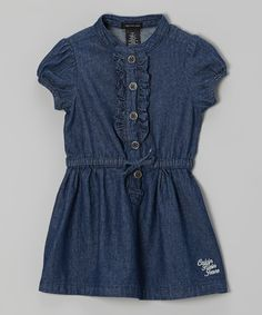 Dark Blue Ruffle Denim Shirt Dress - Infant, Toddler & Girls by Calvin Klein Jeans