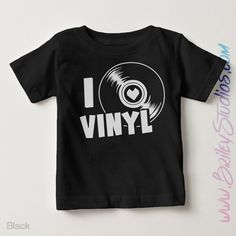 I Heart Vinyl Short Sleeve Toddler Tee, I Love Vinyl Shirt, Trendy Kids, Vintage Record Graphic Tee, Personalized Kids Clothes, Music by BrileyStudios on Etsy