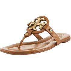 Tory Burch Miller Flat Thong Sandal, Tan/Bronze, found on polyvore.com