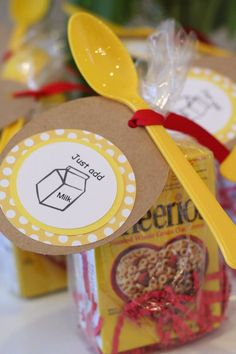 Cheerios make great favors for little ones.  See more 1st boy birthday favors and party ideas at one-stop-party-ideas.com