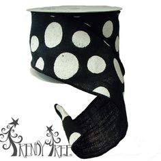 "4"" Burlap Black White Dot Ribbon #TrendyTree"
