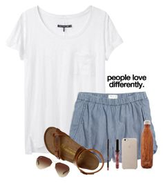 """""""Where could my family go on vacation and not have t walk around a bunch? My dad hurt his back but still wants to go somewhere"""" by madelyn-abigail ❤ liked on Polyvore featuring rag & bone, Madewell, Birkenstock, S'well, Ray-Ban and Kenzie"""