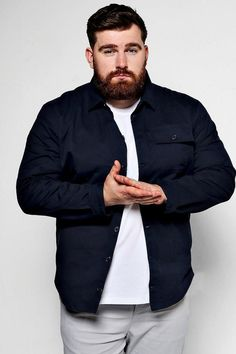 Boohoo big and tall worker shirt. boohoo big and tall worker shirt chubby men fashion Chubby Men Fashion, Large Men Fashion, Fashion For Big Guys, Mens Plus Size Fashion, Big And Tall Style, Moda Blog, Outfits Hombre, Man Dressing Style, Mode Plus