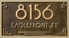 LUST! This art deco styled address plaque is custom carved and cold coated with copper or brass.
