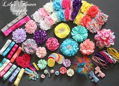 Baby Shower Headband Kit - Party Collection - Hair Bow Kit - Baby Shower Headband Station Kit - Birthday Party - 32 Headbands 5 Clips Headband Station, Baby Headbands, How To Make Headbands, Making Hair Bows, Baby Bows, Party Colors, Baby Kit, Baby Sprinkle, Girl Shower