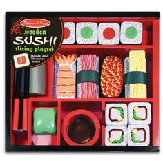 Melissa and Doug Sushi Slicing Wooden Play Food Set * To view further for this item, visit the image link. (This is an affiliate link)