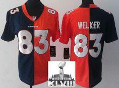 Women Nike Denver Broncos 83 Wes Welker Orange Blue Split 2014 Super Bowl XLVIII NFL Jerseys
