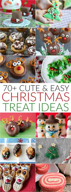 More than 70 cute ideas for Christmas treats including reindeer cupcakes, snowman marshmallow hats, and Rudolph donuts!