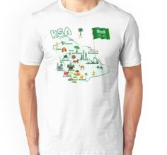 'Kingdom of Saudi Arabia Map tourist attractions cities flag ' T-Shirt by mashmosh City Flags, Maps For Kids, Shirt Price, Saudi Arabia, Tshirt Colors, Cities, Shirt Designs, Classic T Shirts, Clothes For Women