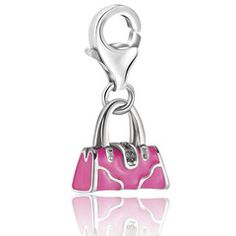 Sterling Silver Pink Enameled Handbag Charm with Crystal Lock Detailing Sterling Silver Charm Bracelet, Silver Hoop Earrings, Silver Charms, Cute Jewelry, Jewelry Gifts, Women's Jewelry, Jewelry Bracelets, Minis, Candy Bracelet