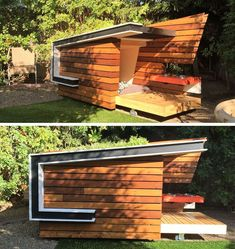 Cool Dog Houses With Modern Designs And Fancy Features Modern Dog Houses, Cool Dog Houses, Sleeping Nook, Concrete Houses, Dog Furniture, Front Rooms, Wooden Decks, Pet Home, Outdoor Settings