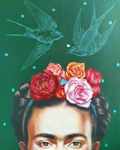 Paper print portrait of Frida Kahlo painting with flowers in birds by LesjaArt on Etsy Fridah Kahlo, Kahlo Paintings, Portrait Paintings, Abstract Portrait, Art Paintings, Frida Art, Colors And Emotions, Fashion Wall Art, Paper Fashion