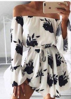 Women Off Shoulder Floral Mini Dress