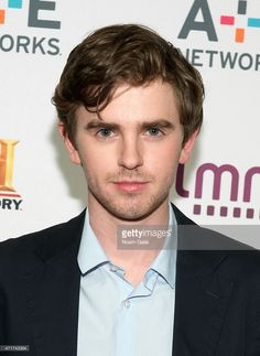 Actor Freddie Highmore attends the 2015 A+E Network Upfront at Park Avenue Armory on April 30, 2015 in New York City.