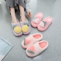 Buy directly from the world's most awesome indie brands. Or open a free online store. Kawaii Shoes, Kawaii Clothes, Cute Pineapple, Bedroom Slippers, Kawaii Room, Fuzzy Slippers, Fashion Slippers, Jeweled Shoes, Cute Room Decor