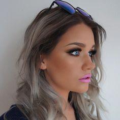 Bright Wearing Bambi liquid lipstick and Love Makeup, Beauty Makeup, Hair Makeup, Hair Beauty, Winter Hairstyles, Pretty Hairstyles, Girl Hairstyles, Grey Blonde, Grey Hair