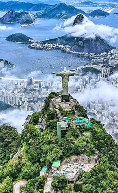 """""""Colossal statue of Jesus Christ at the summit of Mount Corcovado, Rio de Janeiro, Brazil ~ OLYMPIC CITY 2016 💝💝💝"""" Best Honeymoon Destinations, Travel Destinations, Wonderful Places, Beautiful Places, Places To Travel, Places To Visit, Vacation Places, Christ The Redeemer Statue, Jesus Christ"""