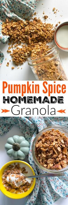 Pumpkin Spice Homemade Granola...all the flavors of Fall - pumpkin pie spice, cinnamon, nutmeg and nutty grains. This easy, homemade version will become a favorite! Great as cereal or topped on yogurt.