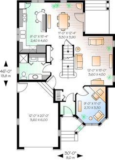 Narrow Lot Plan: 1,751 Square Feet, 3 Bedrooms, 2 Bathrooms - 034-00518 Narrow Lot House Plans, House Plans And More, Best House Plans, House Floor Plans, Sims House Design, Small House Design, Victorian House Plans, Victorian Homes, Circle House