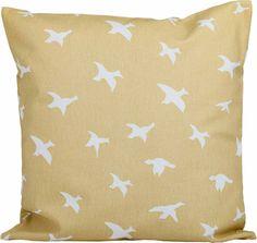 Kissen mit weißen Vögeln auf beige/gelben Untergrund - maritimer Einrichtungsstil für Ihr Zuhause  Stoffart: Canvas - auch für aussen geeignet  Größe: 40 cm x 40 cm