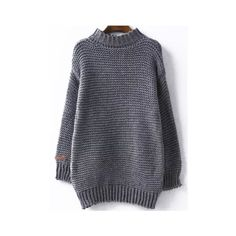 High Neck Chunky Knit Grey Sweater (223.180 IDR) ❤ liked on Polyvore featuring tops, sweaters, grey, turtle neck sweater, grey turtleneck, high neck sweater, gray sweater and turtleneck sweater