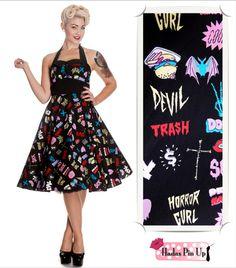 Vestido rockabilly , estilo años 50 de la firma hell Bunny. Modelo Horror Glass, corte de capa y largo midi. Disponible en www.hadaspinup.com