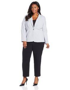 Jones New York Women`s Plus-Size Notch Collar Jacket With Triple Waist