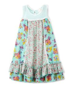 Love this Mint & Yellow Floral Babydoll Dress - Toddler & Girls on #zulily! #zulilyfinds
