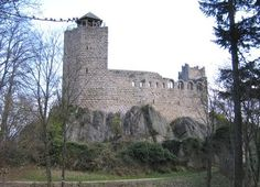 Château de Bernstein, is a ruined castle in the commune of Dambach-la-ville, in the Bas-Rhin département of France. It is situated at an altitude of 557m (~1810 ft). Originally, the castle belonged to the Counts of Eguisheim Dabo. After the siege of 1227 it became the property of the bishop of Strasbourg and seat of the episcopal bailiffs until 1580. Abandoned from this date, the buildings fell into ruin. 48.3219,7.3998