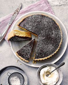 For cakemaker and owner of Pudding Fairy Laure Moyle it was her fathers sweet tooth and love of chocolate that steered her passion for baking. This chocolate orange and frangipane tart tart is emblematic of her childhood growing up in France. Tart Recipes, Sweet Recipes, Cooking Recipes, Curry Recipes, Sweet Pie, Sweet Tarts, Chocolate Orange, Chocolate Chocolate, Köstliche Desserts