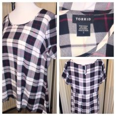 Torrid black & White Plaid Top Plaid patter, short sleeve, tunic length. Lightweight, black and white with subtle red throughout torrid Tops Tunics