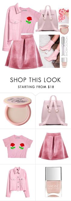 """Monochrome Pink"" by krisscoryfransiska ❤ liked on Polyvore featuring Too Faced Cosmetics, SpyLoveBuy, Boohoo, Nails Inc. and Chantecaille"