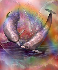 Love Bubbles - Dolphin Art Gift Box for keepsakes, jewelry, and trinkets by Carol Cavalaris. Rainbow Bubbles, Rainbow Sky, Bubbles 3, Dolphins Tattoo, Dolphin Art, Dolphin Drawing, 3d Art, Romantic Paintings, Creation Photo