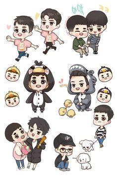 Đã lưu các Ảnh                     Exo Cartoon, Exo Stickers, Exo Anime, Exo Fan Art, Chibi Characters, Exo Members, Cute Chibi, Character Drawing, Hello Kitty