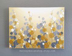 Moutarde jaune et gris, Art pariétal, 18 x 24, peinture texturée, fleurs abstraites, peinture à l