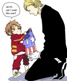 Human butler Jarvis has to raise tiny toddler Tony. SO CUTE!!!
